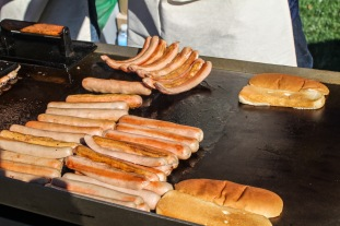 Some of my favorite dogs. Split, grilled, sauced, slathered in their homemade mustard.