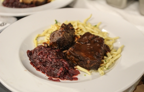 You'll see classics like this homey sauerbraten short ribs with spaetzle. Ribs were fall-off-the-bone tender.